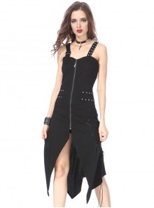 Gothic Side Rope Ornament Halter Black Elastic Sling Dress