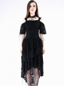 Gothic Punk Black Rose Knitted Cocktail Dress