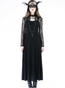 Gothic Black Lace Knitted Stitching Long Sleeve Long Dress
