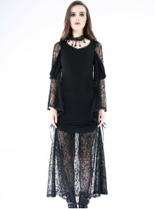 Gothic V-collar Knitted Black Lace Sexy Long Sleeve Dress