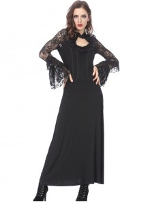 Gothic Black Lace Ruffle Collar Slim Knitted Long Dress