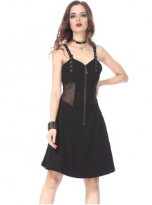Gothic Slim  Black Halter Spider Mesh Yarn Sling Dress