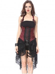 Gothic Red Slim Lace Hem Dress Corset Dress