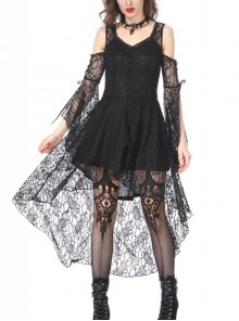 Black Lace Gothic Elegant High-Low Hem Lace-up Dress