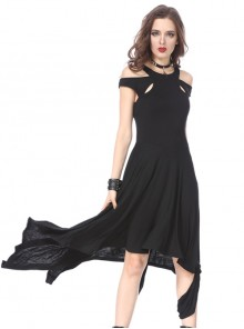 Pure Black Gothic Knitted Off-shoulder Irregular Hem Dress