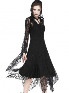 Gothic Gorgeous Black Lace Horn Cap Long Sleeve Long Dress