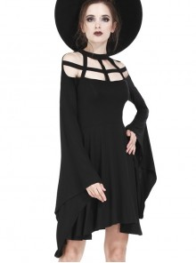 Gothic Black Knitted Spider Web Shape Collar Long Sleeve Dress