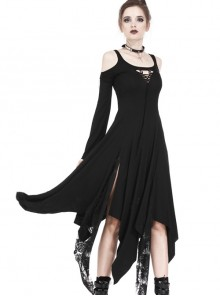 Gothic Black Knitted Off Shoulder Irregular Hem Long Sleeve Long Dress
