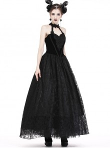Gothic Black Noble Velvet Lace Embroidery Backless Long Dress
