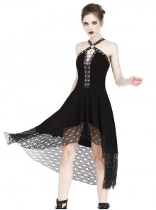 Gothic Mesh Lace Hem Black Knitted Sexy PU Sling Dress