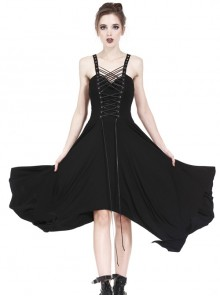 Black Interlaced Rope Design Irregular Hem Gothic Knitted Dress