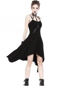 Black Rivet Neck Tapes Irregular Hem Gothic Knitted Dress