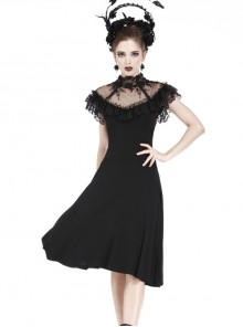 Gothic Black Sexy Rose Flower Lace Knitted Dress