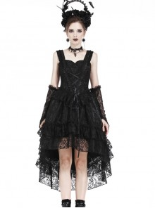 Black Lace Lace-up Gothic Lolita Sling Dress