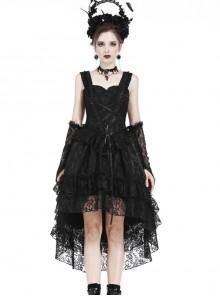 Black Lace Lace-up Gothic Lolita Sling Dress