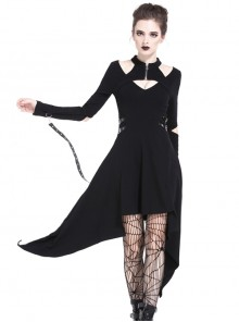 Punk Metal Hook Black Hollow Out Shoulder Gothic Midi Dress