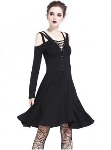 Gothic Black Slit Chest Strap Backless Slim Sling Dress