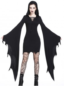 Gothic Black Hooded Halloween Super Bat Sleeve Sexy Dress