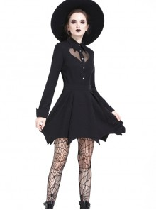 Gothic Sexy Heart Shaped Mesh Yarn Black Lapel Long Sleeve Dress