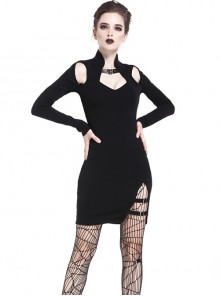 Gothic Black Hollow Shoulder Slit Hem Short Dress