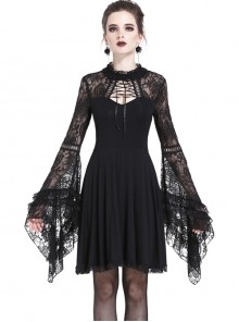Elegant Black Lace Gothic Slim Knitted Short Dress