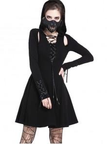Gothic Punk Lace-up Black Sexy Slit Hooded Short Dress