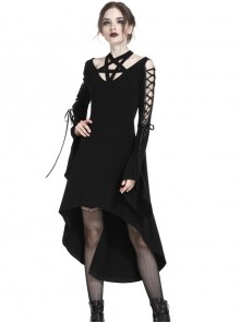 Gothic Black Pentagram Crossed Neckline Lace-up Long Sleeves Dress