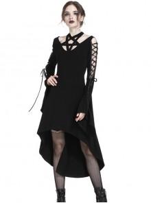 Gothic Black Pentagram Crossed Neckline Lace-up Long Sleeves Dress