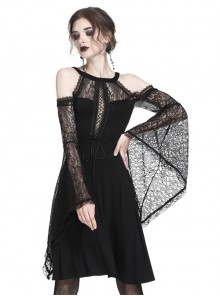 Gothic Black Slit Chest Hollow Out Shoulder Lace Long Sleeve Knitted Dress