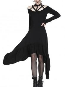 Gothic Black Straps Neckline Waterfall Hem Long Sleeve Dress