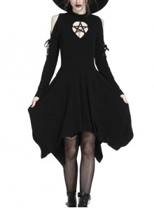 Gothic Black Hollow Out Five-pointed Star Chest Irregular Hem Lace-up Long Sleeves Dress