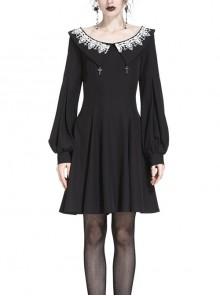 Gothic Black Chiffon White Lace Lapel Crucifix Pendant Long Sleeve Dress