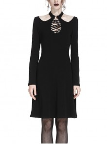 Gothic Black Hollow Out Lace-up Chest Slim Long Sleeve Dress