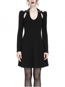Gothic Punk Pure Black Concise Long Sleeve Slim Midi Dress