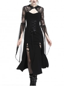 Gothic Black Lace Hooded Sexy Side Slits Long Dress