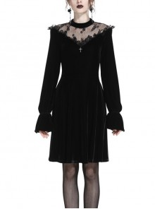 Gothic Cross Black Lace Velour Long Sleeve Dress