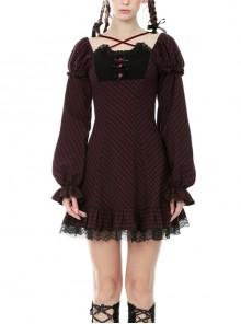 Gothic Black Red Grid Long Sleeve Lolita Night Cat Short Dress