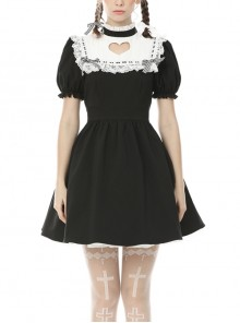 Hollow Out Heart Shaped Darkness Alice Gothic Lolita Short Sleeve Dress