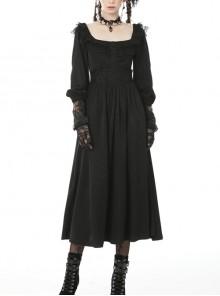 Elegant Retro Rose Embroidery Black Gothic Long Dress