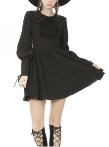 Black Doll Collar Gothic Lantern Long Sleeve Dress