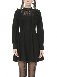 Dark Mysterious Black Lace Frilly Gothic Long Sleeve Dress
