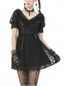 Sexy Rebel Black Lace V Neck Gothic Short Sleeve Dress