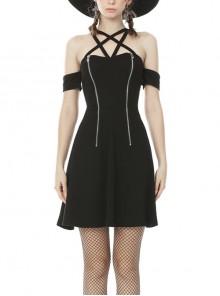 Black Gothic Sexy Zipper Star Halter Dress