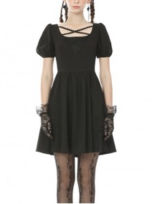 Black Intersect Straps Embroidery Gothic Prom Short Sleeve Dress