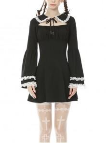 Gothic Sweet Doll Collar Black Rebel Long Sleeve Dress