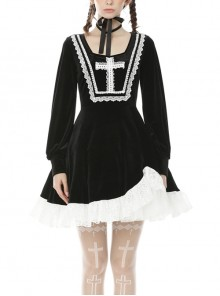 Darkness Gothic White Lace Cross Black Long Sleeve Dress