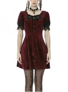 Nightingale Rose Classic Wine Red Diamond Velvet Gothic Short Sleeve Dress