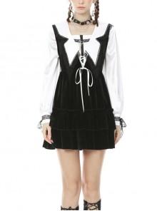 Gothic Academy Black Velvet Deep V-neck Vest Dress