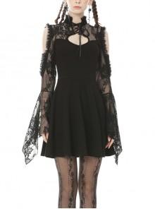 Rock Princess Gothic Black Lace Sexy Shoulder Dress