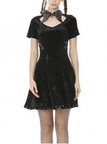 Gothic PU Leather Pointed Collar Black Velvet Short Sleeve Dress